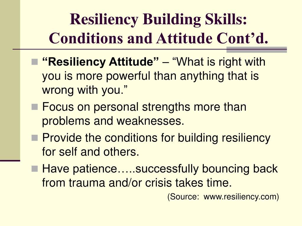 Resiliency Building Skills: