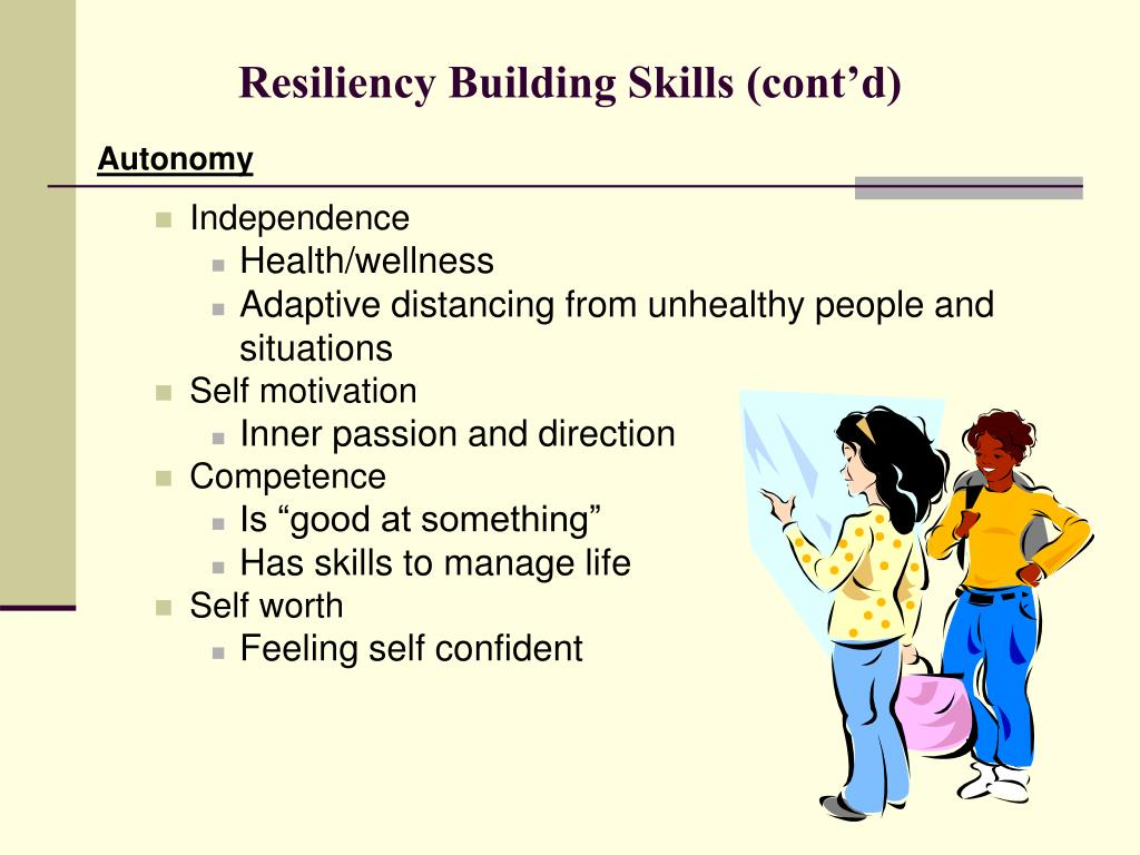 Resiliency Building Skills (cont'd)