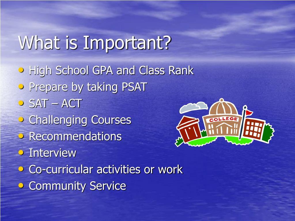 High School GPA and Class Rank