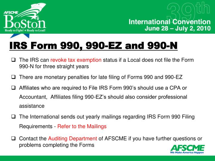 IRS Form 990, 990-EZ and 990-N