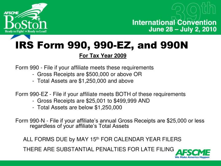 IRS Form 990, 990-EZ, and 990N