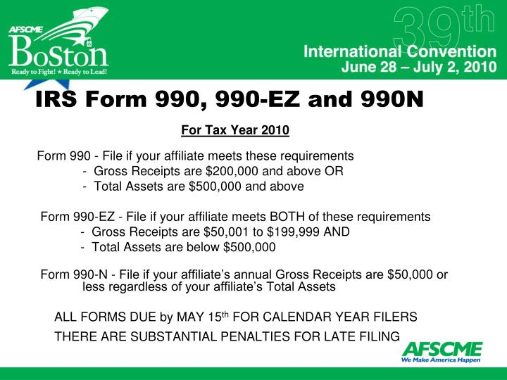 IRS Form 990, 990-EZ and 990N