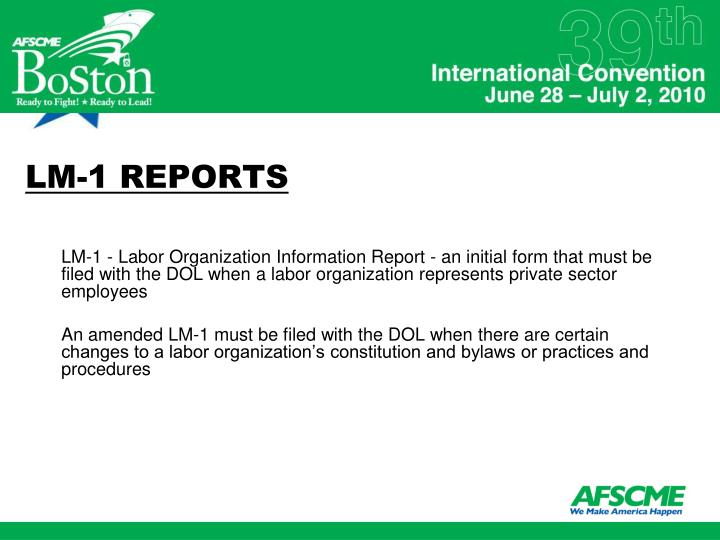 LM-1 REPORTS