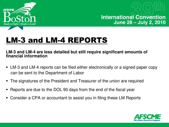 LM-3 and LM-4 REPORTS