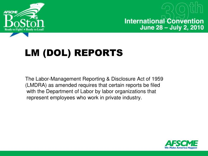 LM (DOL) REPORTS
