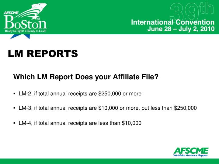 LM REPORTS