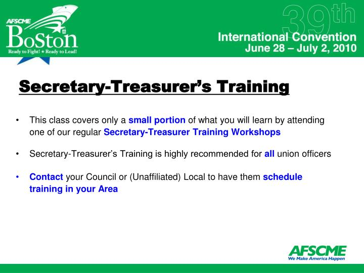 Secretary-Treasurer's Training