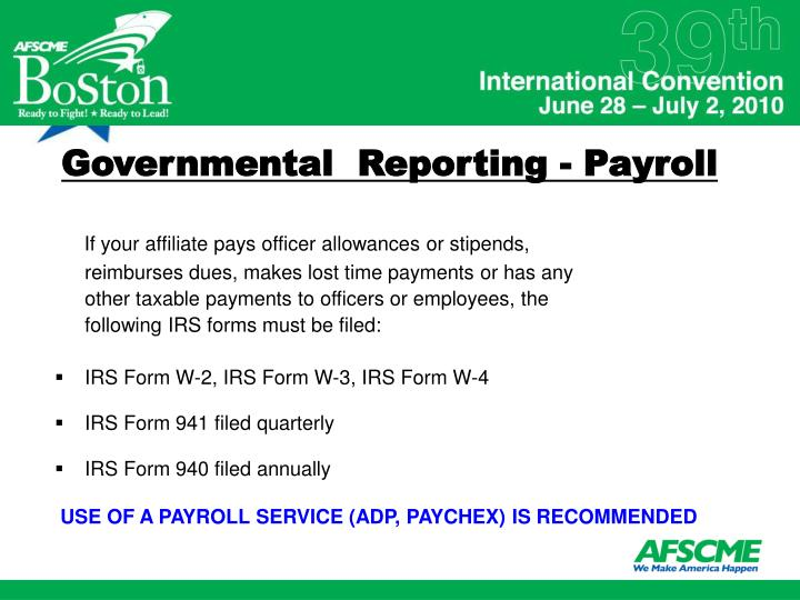 Governmental  Reporting - Payroll