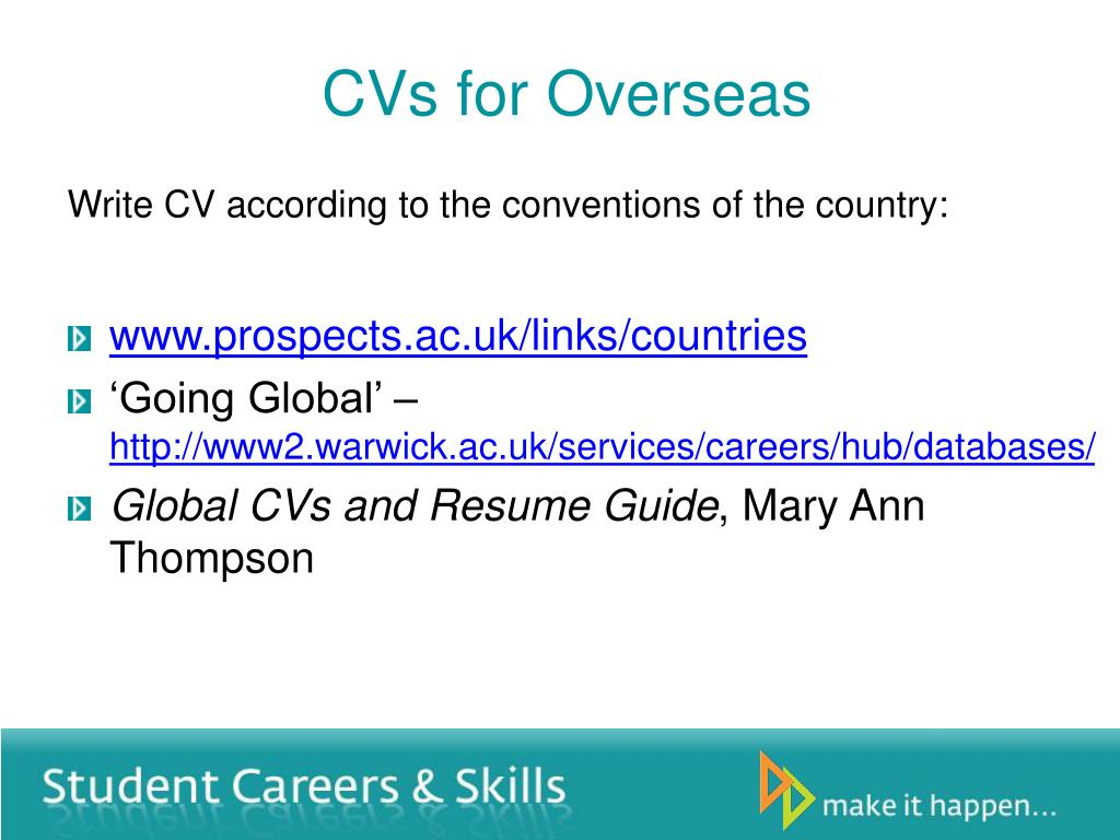 CVs for Overseas