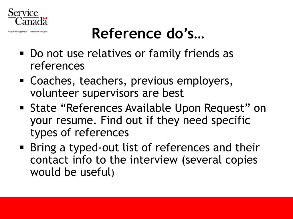 Reference do's…