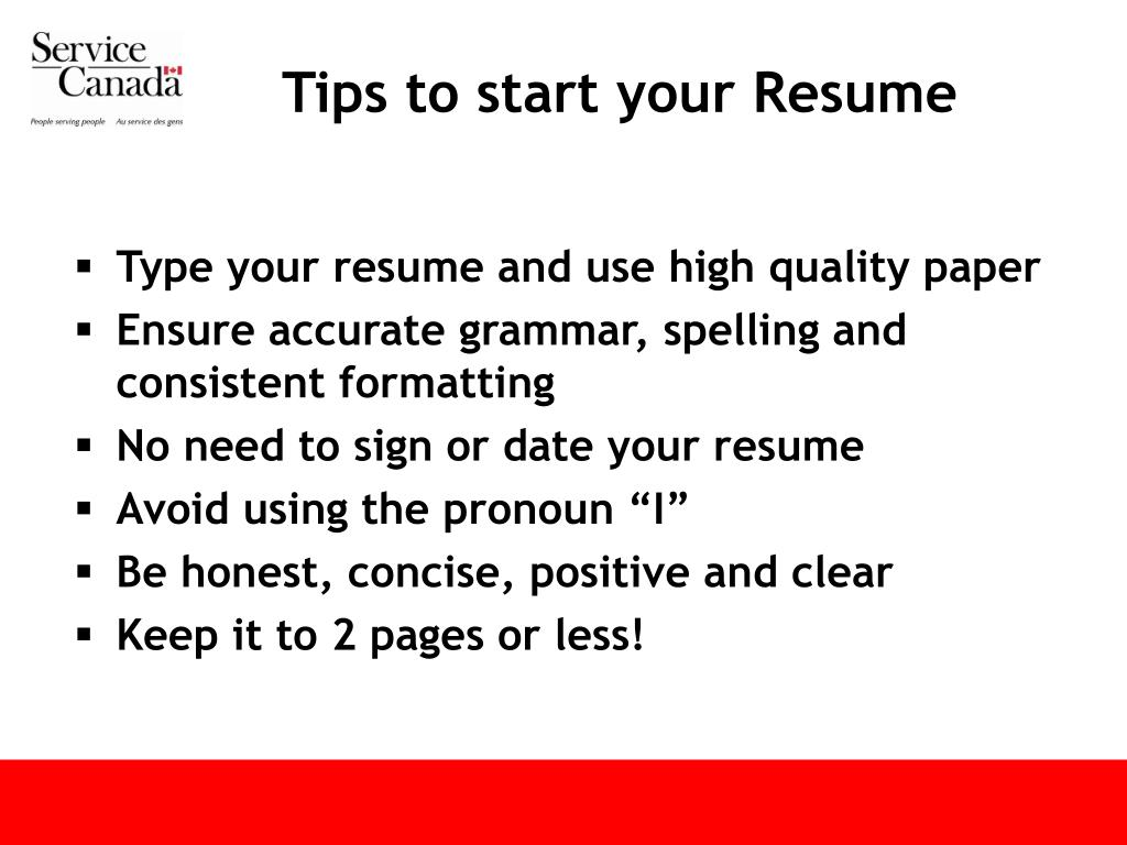 Tips to start your Resume