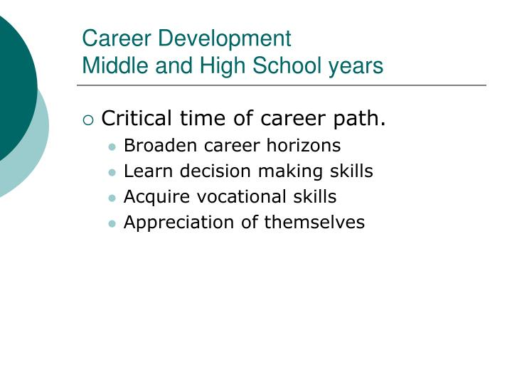 Career development middle and high school years