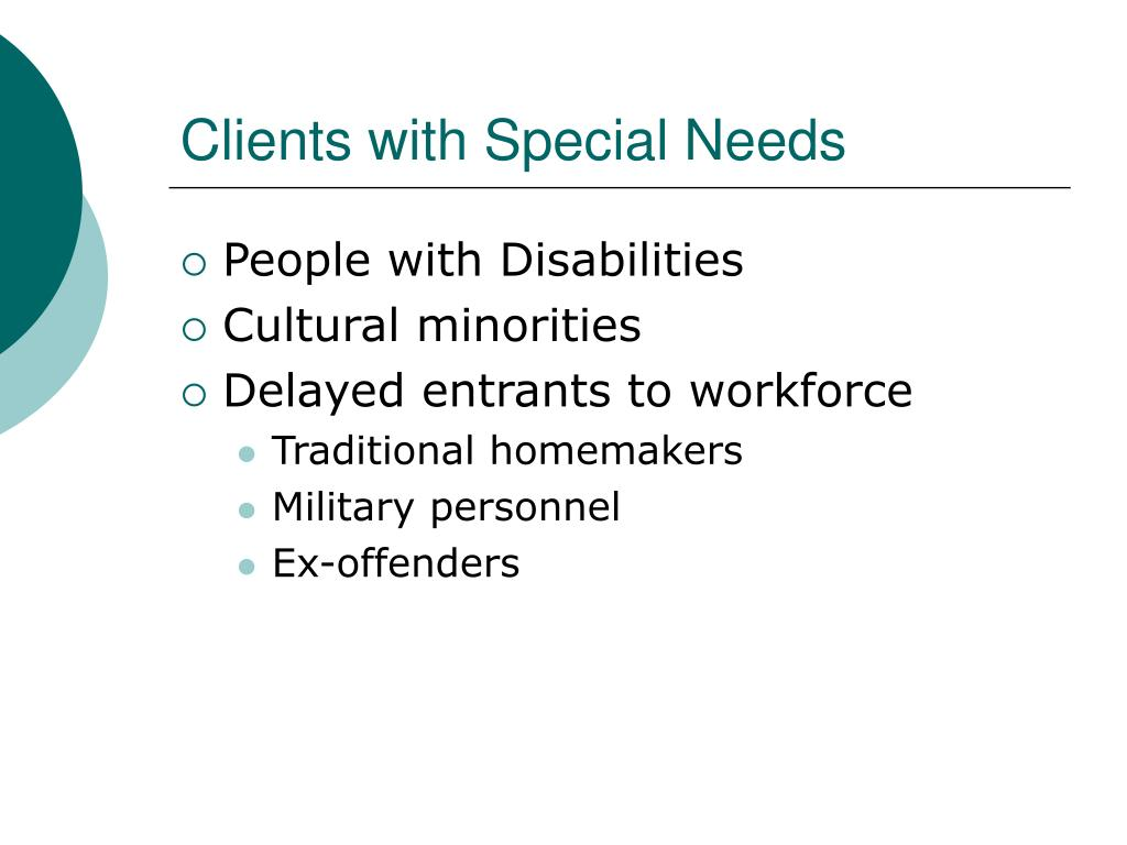 Clients with Special Needs
