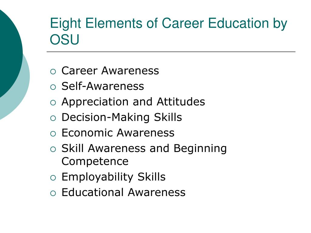 Eight Elements of Career Education by OSU
