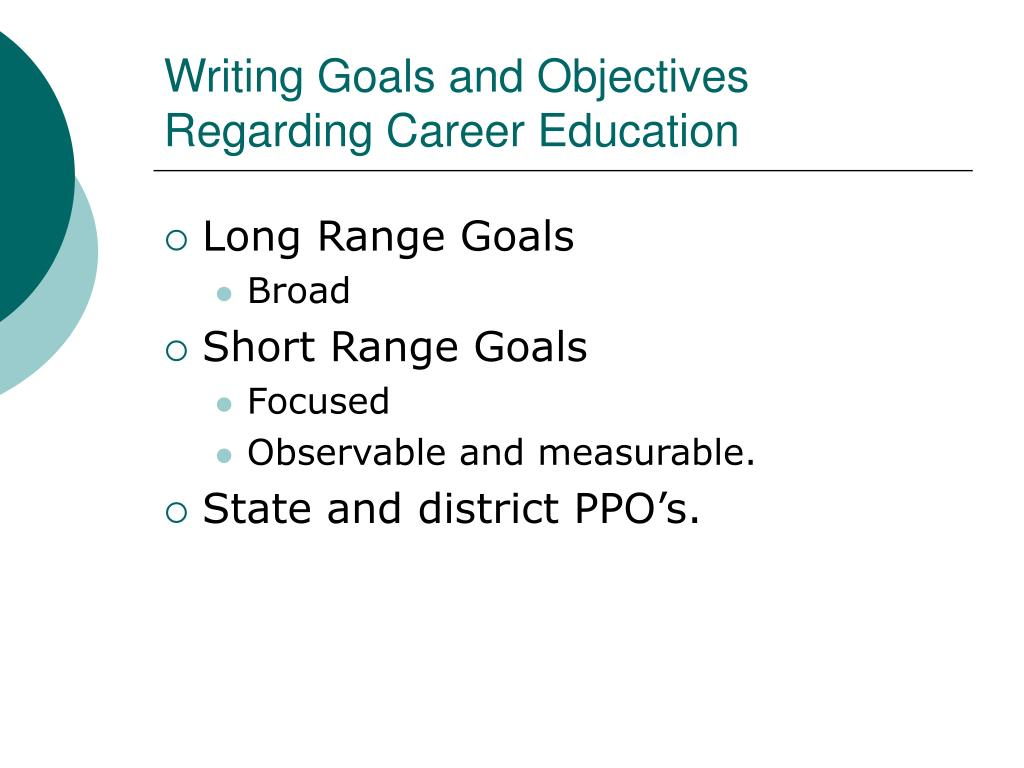 Writing Goals and Objectives Regarding Career Education