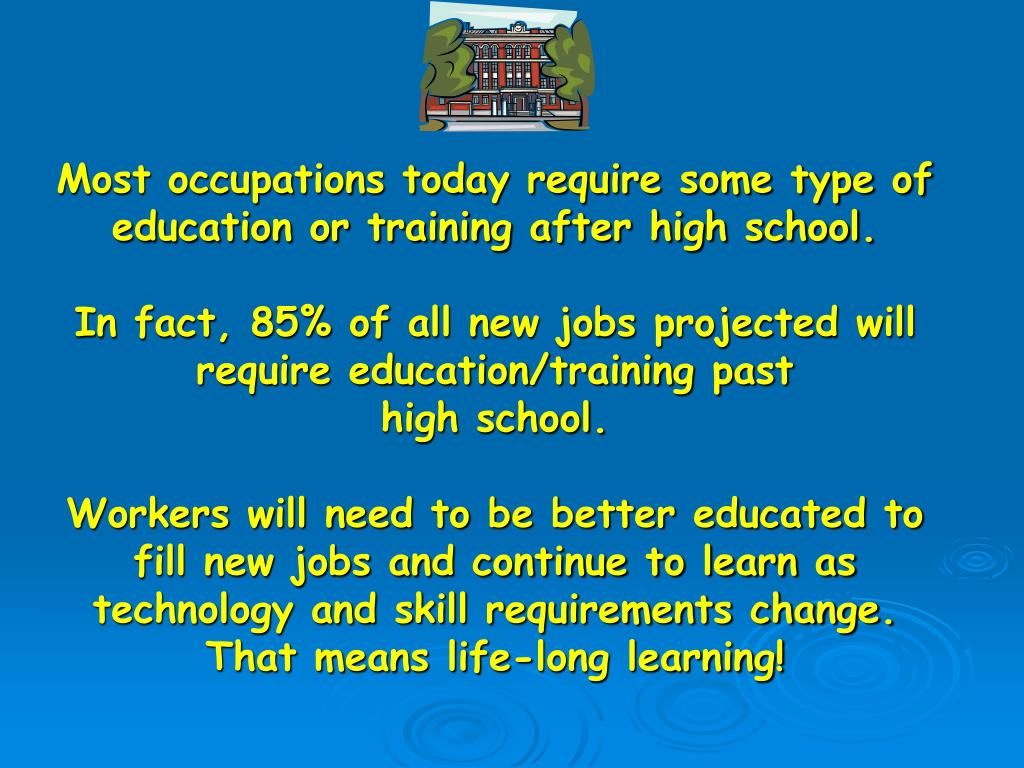 Most occupations today require some type of education or training after high school.