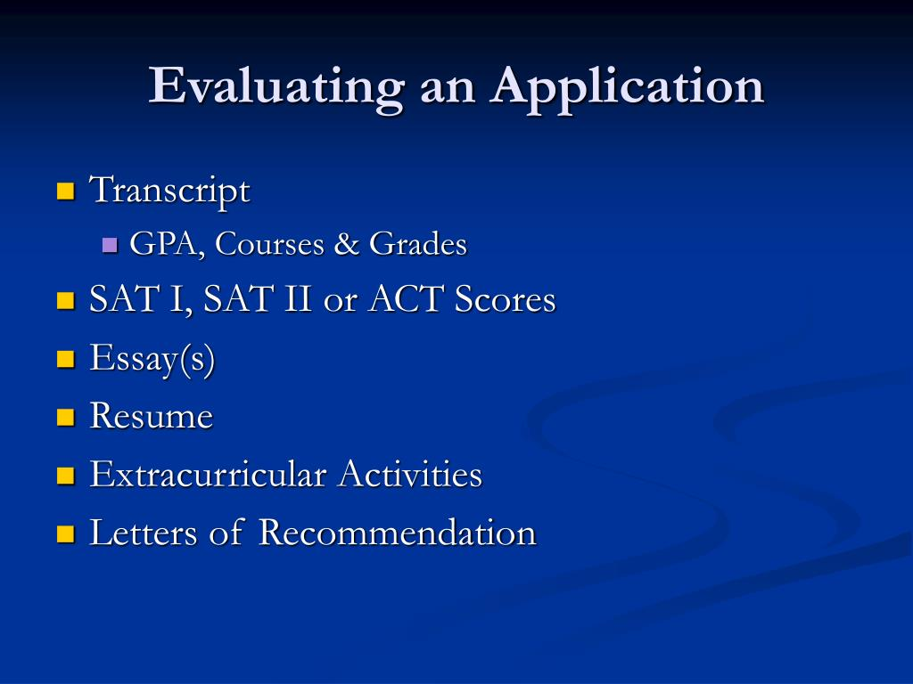 Evaluating an Application