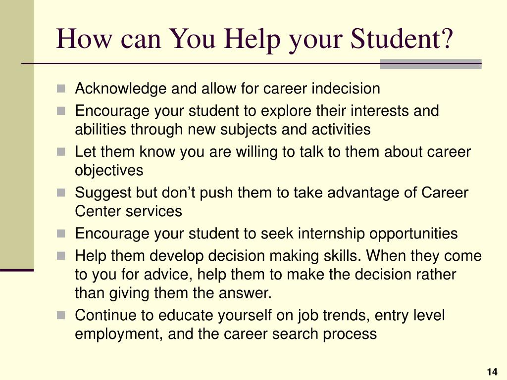 How can You Help your Student?