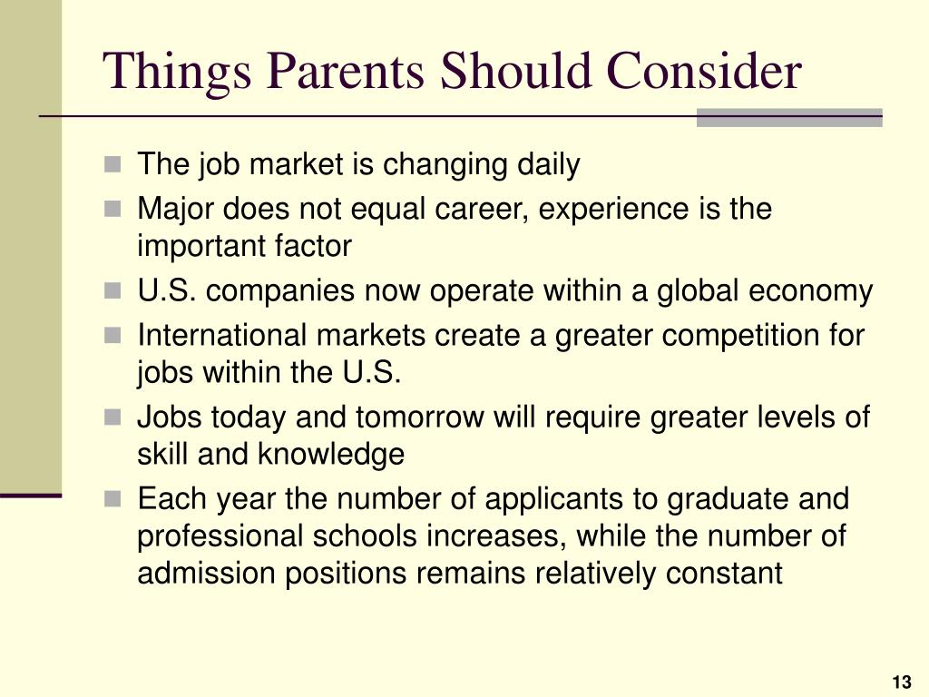 Things Parents Should Consider