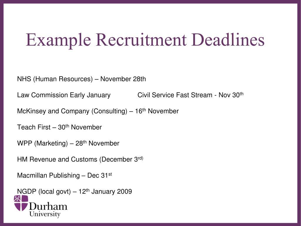 Example Recruitment Deadlines