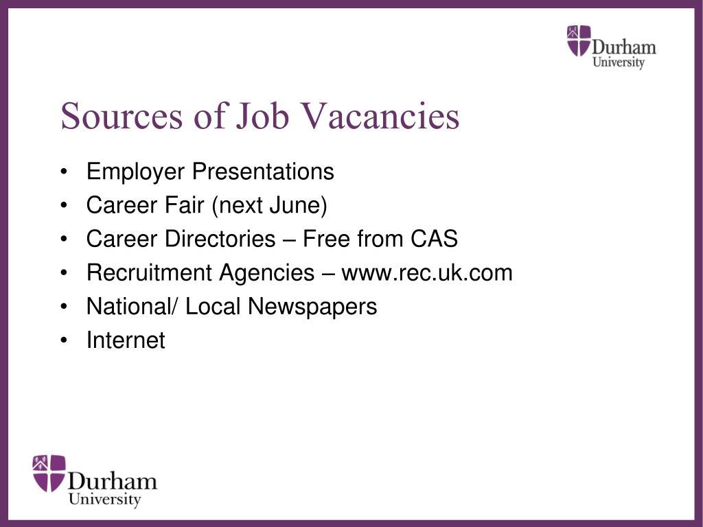 Sources of Job Vacancies