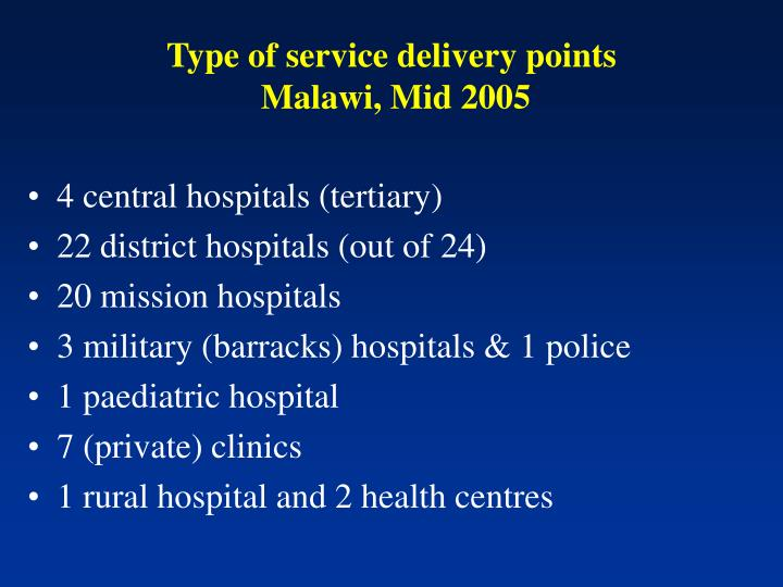 Type of service delivery points malawi mid 2005
