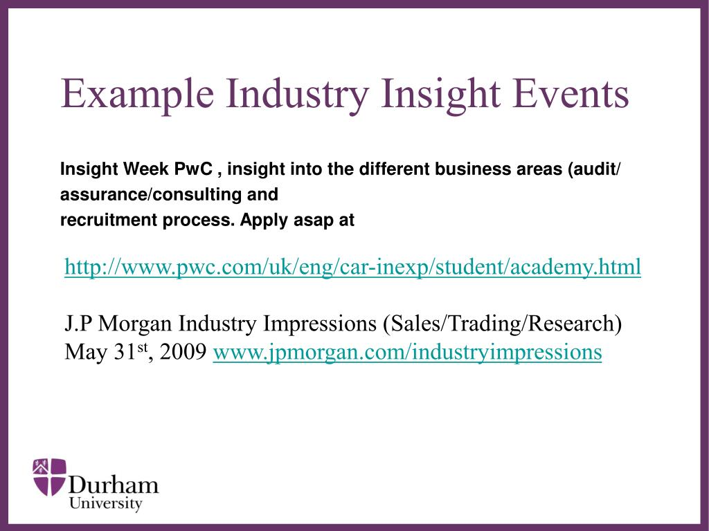 Example Industry Insight Events