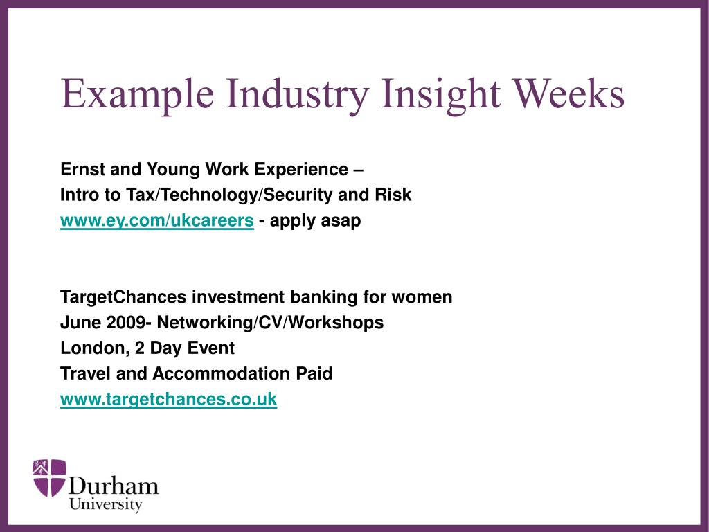 Example Industry Insight Weeks