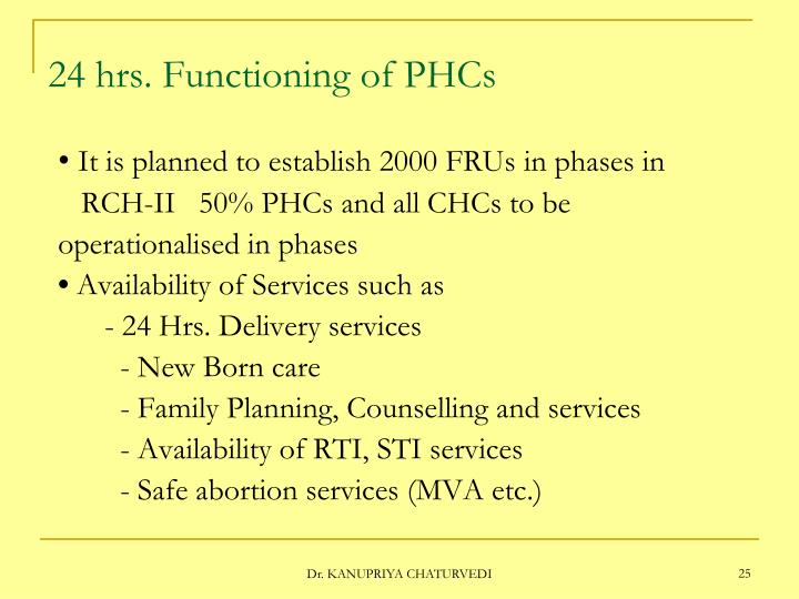 24 hrs. Functioning of PHCs