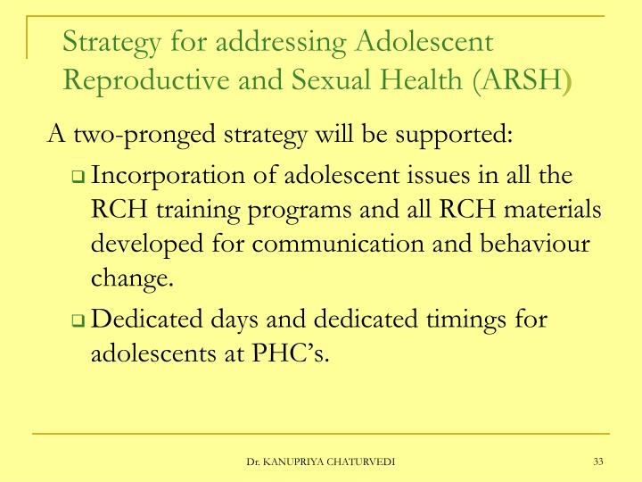 Strategy for addressing Adolescent