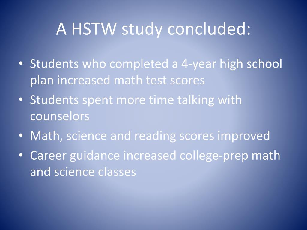 A HSTW study concluded: