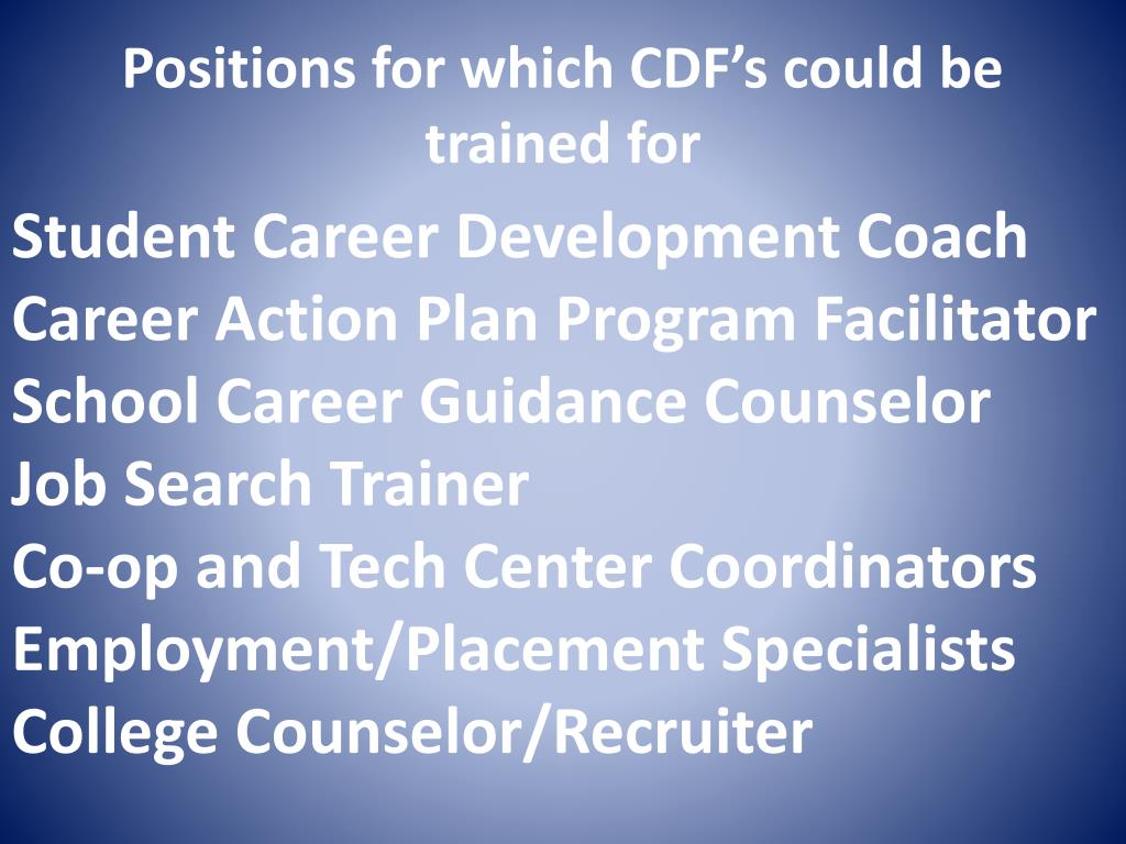 Positions for which CDF's could be trained for