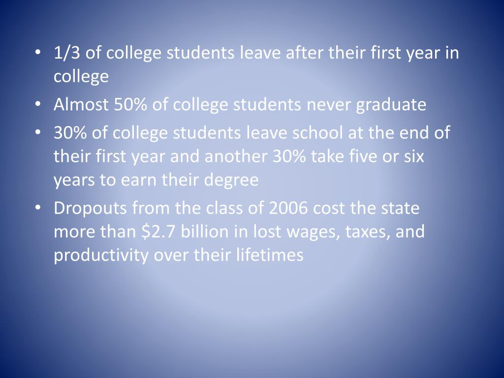 1/3 of college students leave after their first year in college