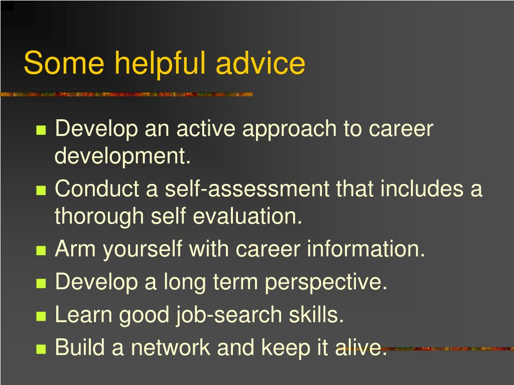 Some helpful advice