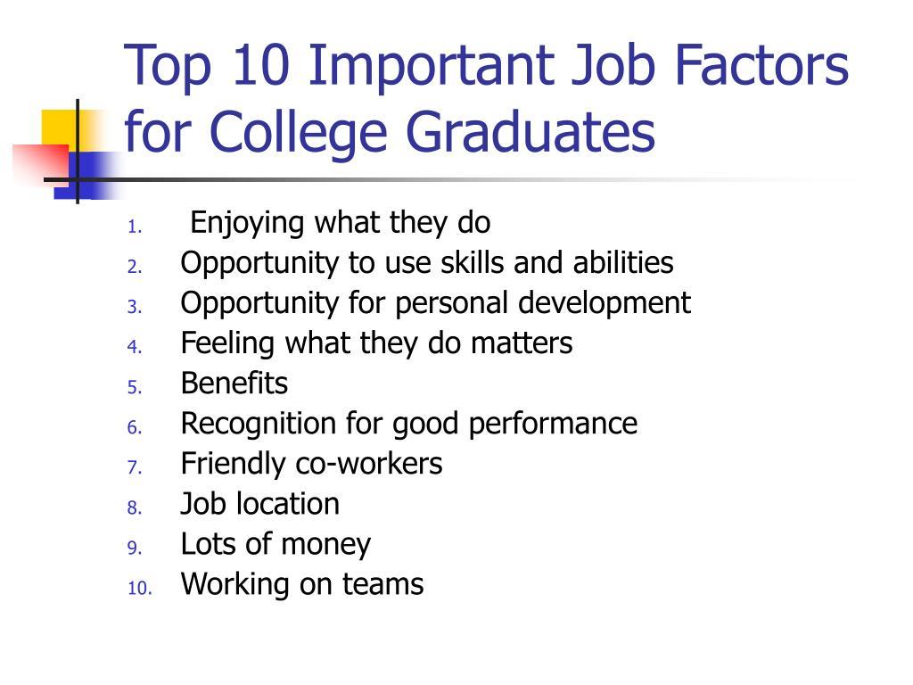 Top 10 Important Job Factors for College Graduates