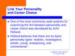 link your personality and career choice