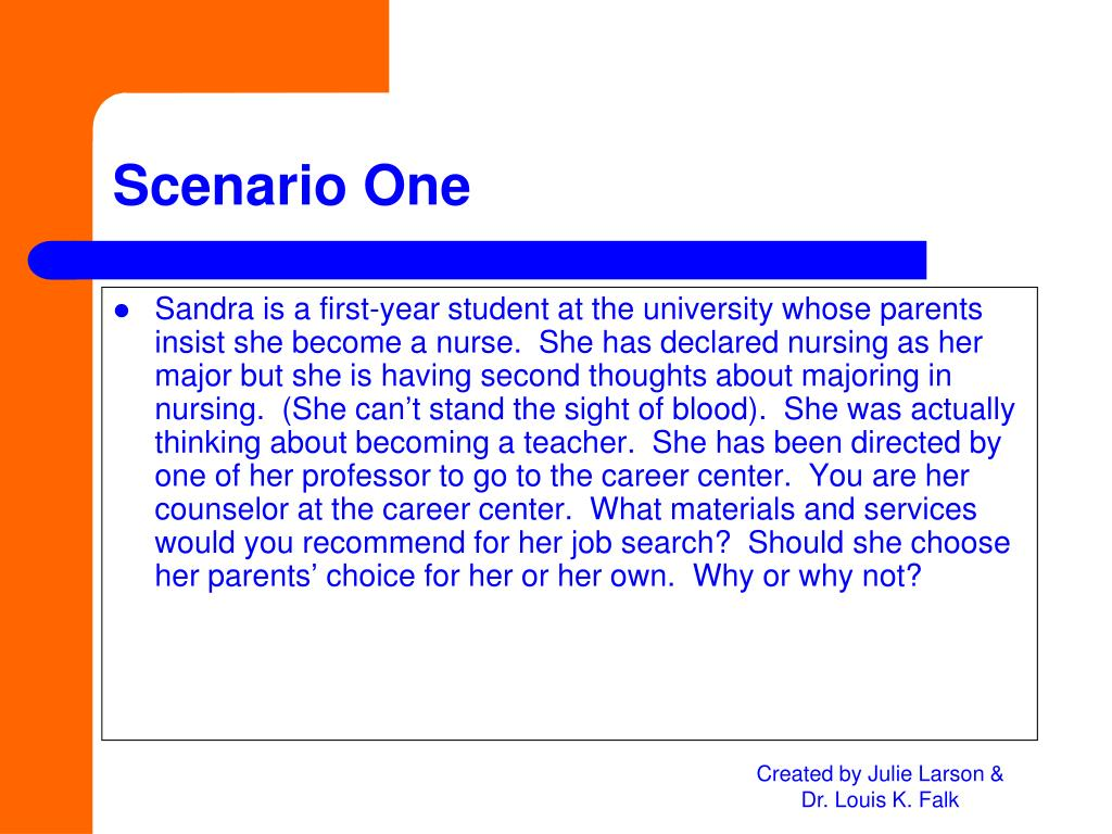 Sandra is a first-year student at the university whose parents insist she become a nurse.  She has declared nursing as her major but she is having second thoughts about majoring in nursing.  (She can't stand the sight of blood).  She was actually thinking about becoming a teacher.  She has been directed by one of her professor to go to the career center.  You are her counselor at the career center.  What materials and services would you recommend for her job search?  Should she choose her parents' choice for her or her own.  Why or why not?