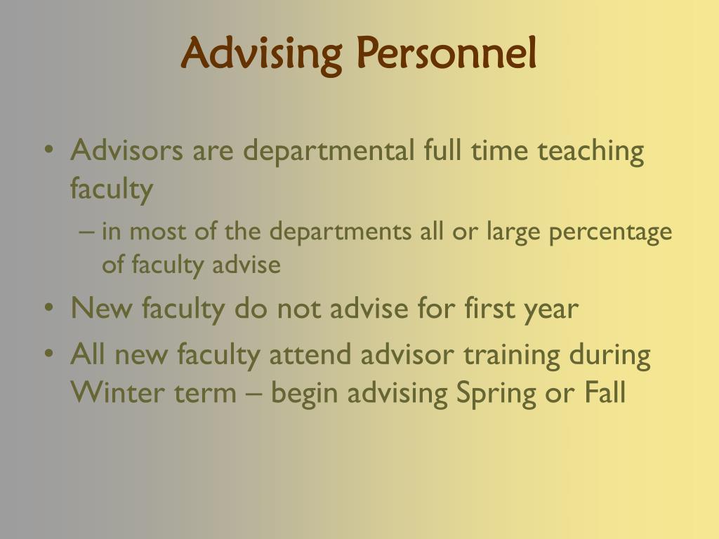 Advising Personnel