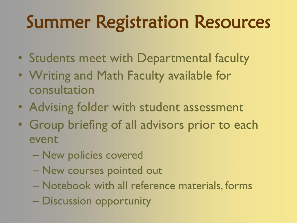 Summer Registration Resources