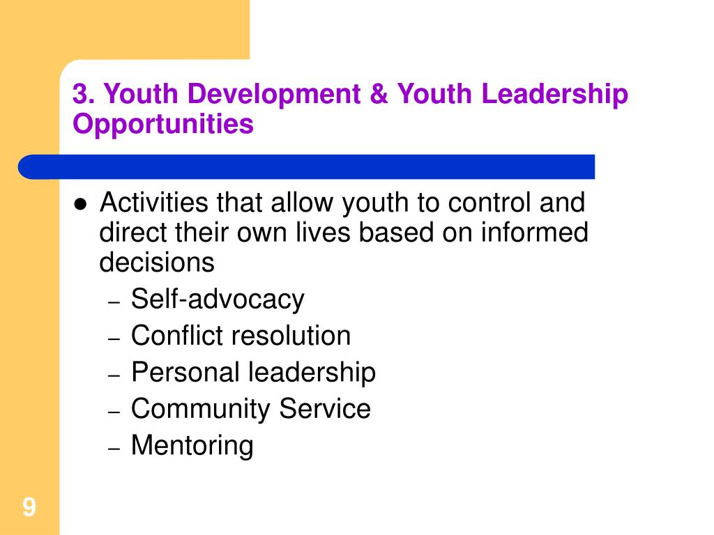 3. Youth Development & Youth Leadership Opportunities