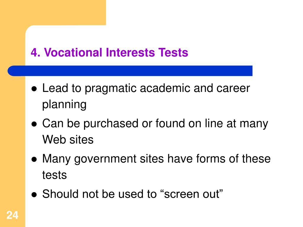 4. Vocational Interests Tests