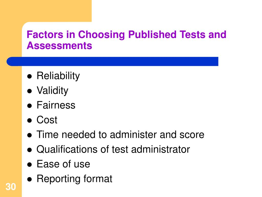 Factors in Choosing Published Tests and Assessments