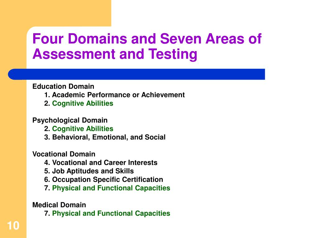 Four Domains and Seven Areas of Assessment and Testing