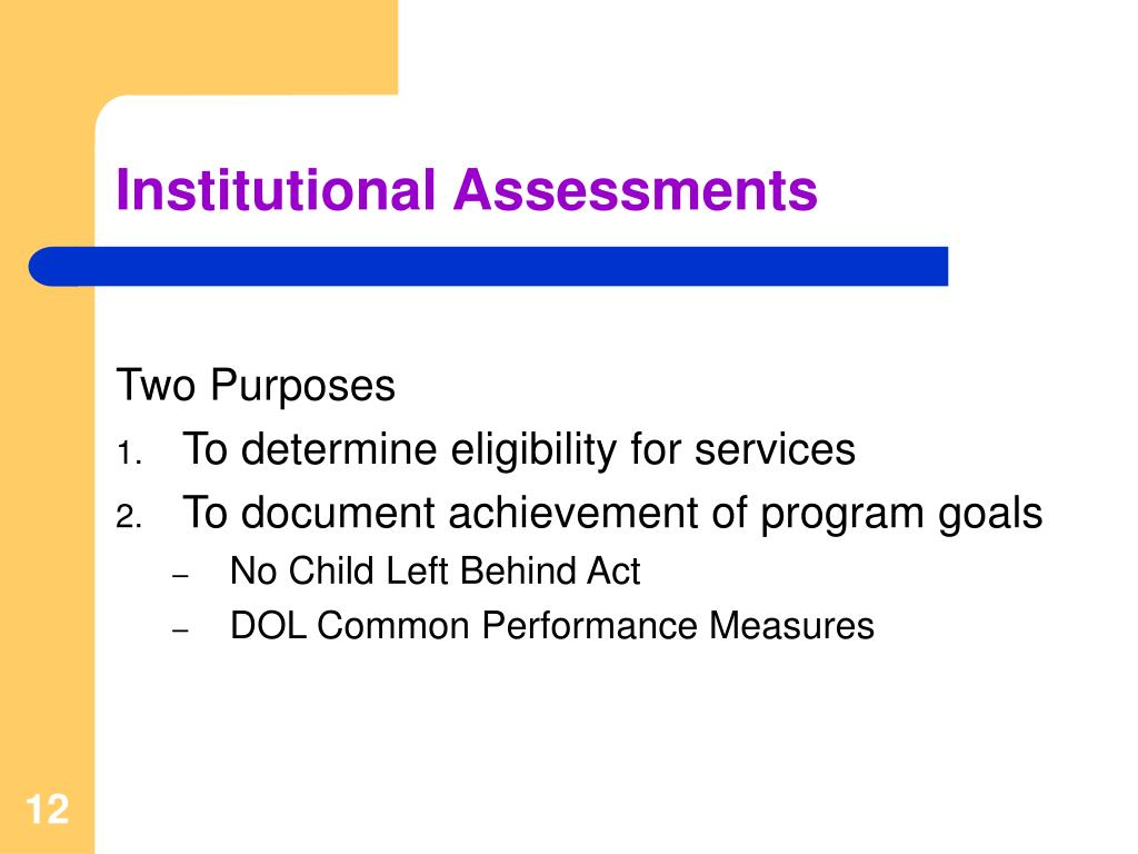 Institutional Assessments