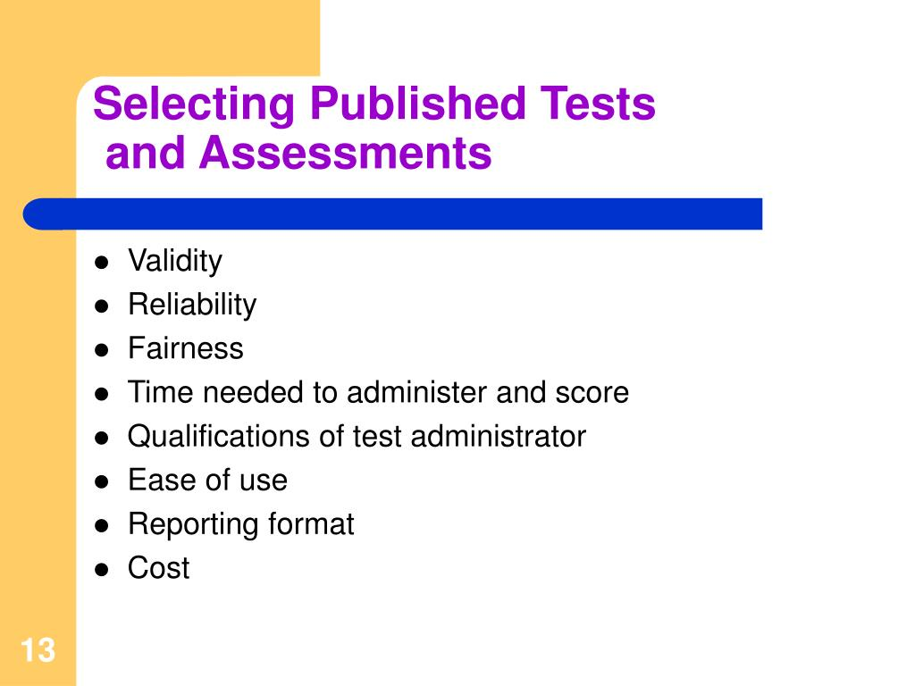 Selecting Published Tests
