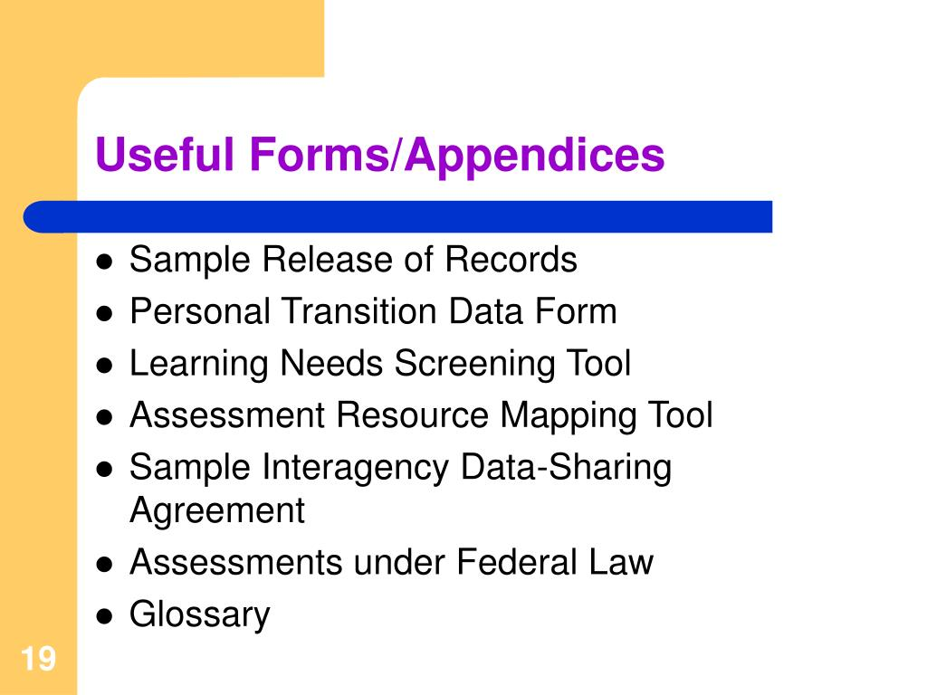Useful Forms/Appendices