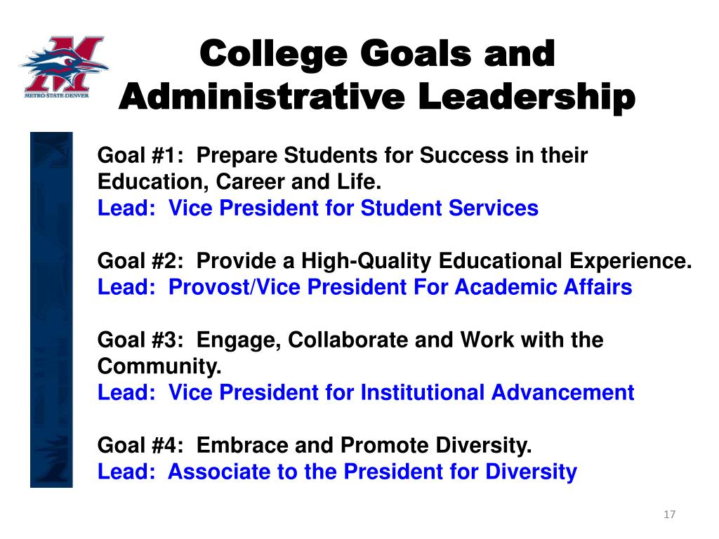 College Goals and Administrative Leadership