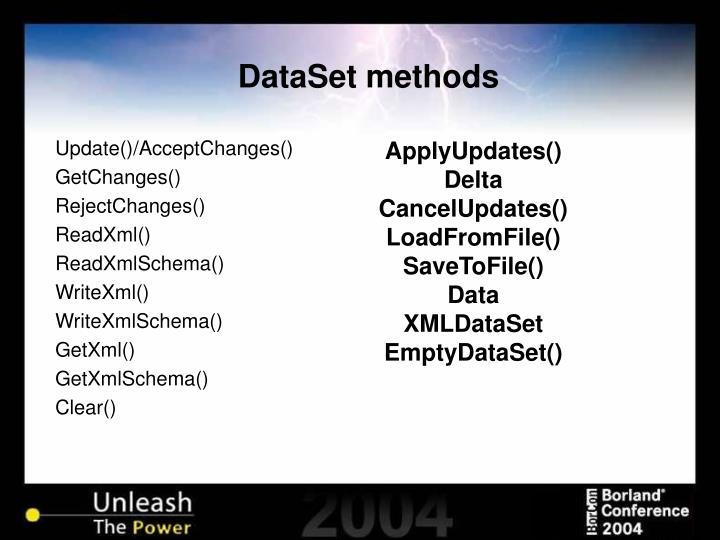 DataSet methods