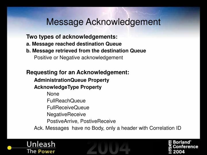 Message Acknowledgement