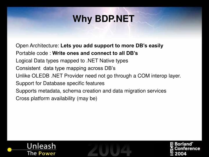 Why BDP.NET